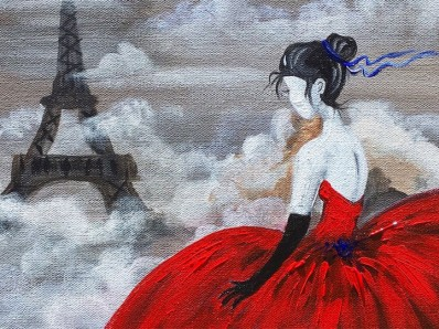 eiffel tower red dress